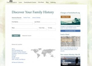 FamilySearch Home Page April 2011